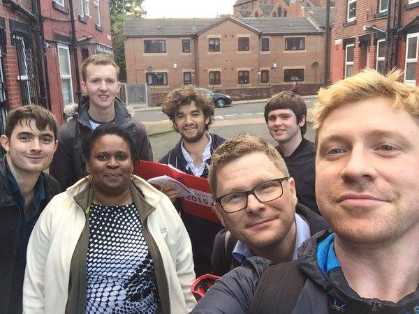 Labour members out in Leeds NW encouraging voter registration